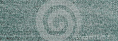 Brick wall, wide panorama of mint color masonry. Wall with small Bricks. Modern wallpaper design for web or graphic art projects.
