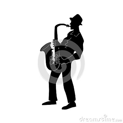 Jazz or blues musician, the man plays a saxophone.  Black and white isolated silhouette with contour. Vector illustration
