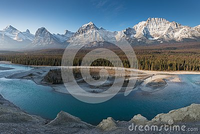Rocky Mountains on a autumn day Jasper National Park in the Canadian Rockies. Alberta Canada Scenic landscape in Jasper national p