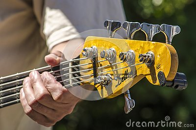 Playing a five string bass