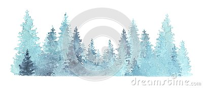 Beautiful watercolor coniferous forest illustration, Christmas fir trees, winter nature, holiday background, conifer, snow, outdoo