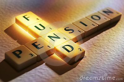Scrabble letters spelling pension fund