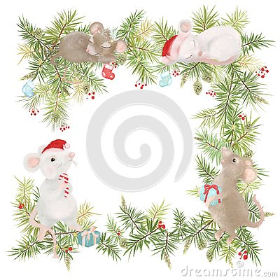 Merry Christmas and happy new year greeting card vintage frame. Retro frame, wreath with decoration and white mouses. Symbol