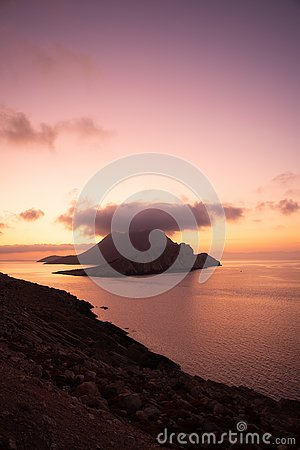 Sunset on Amorgos small islands, Cyclades, Greece