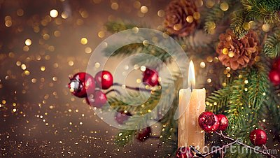 Vintage styled Christmas and New Year Holiday border art design with candle and fir tree with cones. Xmas Winter holiday backgroun