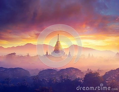 Enjoying colorful sunset over of Buddhist stupas and hot air balloon in the ancient Bagan. Myanmar, Asia