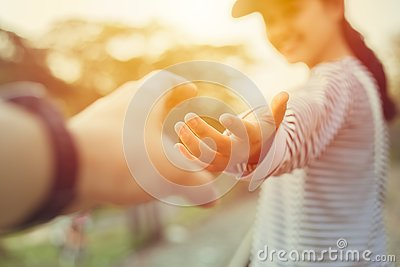 Girl teen smiling and reach her hand. Help Touch Care Support be a Good Friend with Love concept