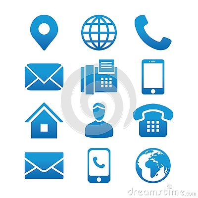 Contact Info Icon Set with Address Pin, Phone, Fax, Cell Phone, Worker and Email Icons