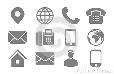 Contact Info Icon Set with Location Pin, Phone, Fax, Cellphone, Person and Email Icons