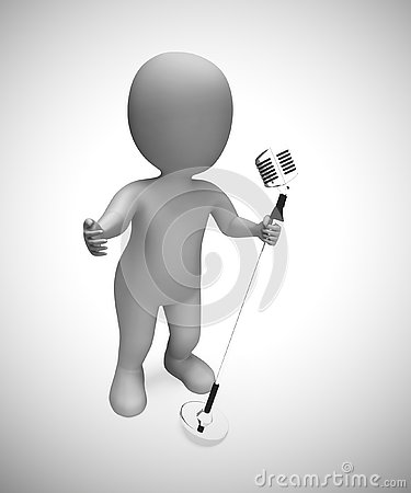 Singer singing songs with a microphone at a concert- 3d illustration