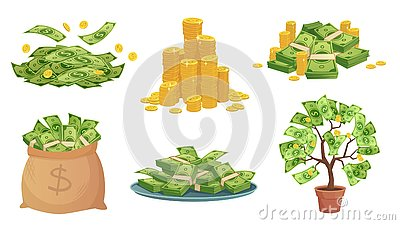 Cartoon cash. Green dollar banknotes pile, rich gold coins and pay. Cash bag, tray with stacks of bills and money tree