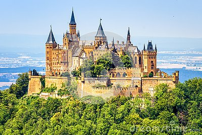 Hohenzollern Castle close-up, Germany. This fairytale castle is famous landmark near Stuttgart