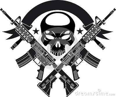 Human skull with crossed assault rifles and banner