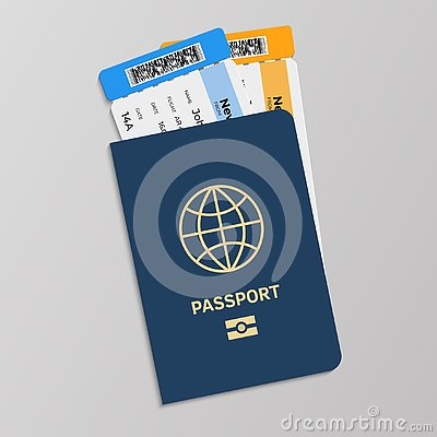 Passport with boarding tickets. Hand drawn blue international document for presentation in airport at customs gate