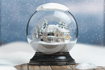Merry christmas snow globe with a house on snowfall winter background