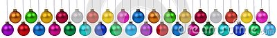 Many Christmas balls baubles banner hanging collection isolated on white