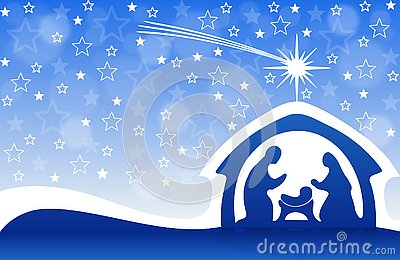 Christmas greeting card with Nativity scene