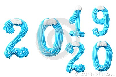 Happy New Year 2020. Number 2020 made of blue sweets. Creative typography, banner design. Sweet winter dessert ingredients
