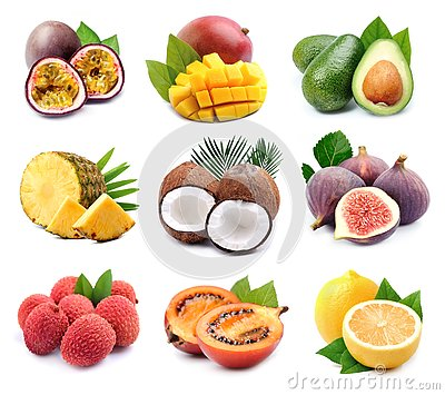Collage of exotic fruits