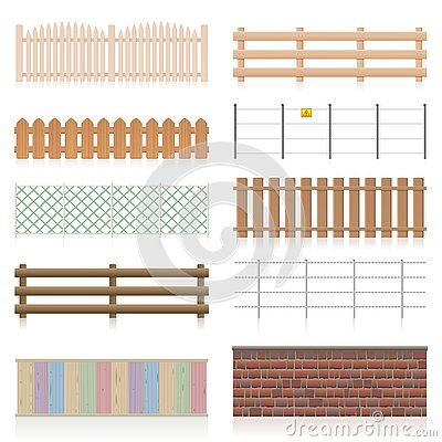 Different Fences Railings Wall Set