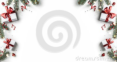 Creative frame made of Christmas fir branches, gift boxes, red decoration, sparkles and confetti on white background. Xmas and New