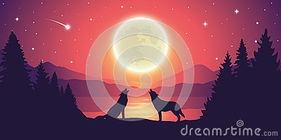 Two wolves by the lake howling to the full moon in starry sky