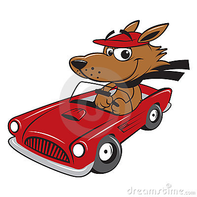 Race Car Dog Cartoon