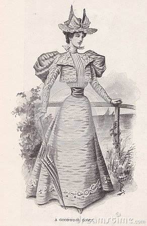1896 The Illustrated London News Advertisment of a Lady`s Goodwood Gown.
