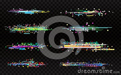 Glitch set on dark background. Collection of color distortions. Data error templates. Random color pixels and shapes