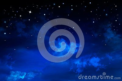 Deep space. Night sky, abstract blue background
