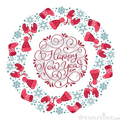 Happy New Year vector scandinavian calligraphic vintage text. Winter Christmas Wreath with xmas phrase. Greeting card