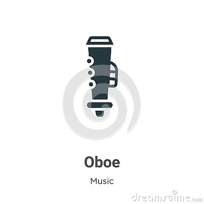 Oboe vector icon on white background. Flat vector oboe icon symbol sign from modern music collection for mobile concept and web