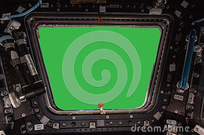 Porthole of space station isolated on green background. Elements of this image furnished by NASA