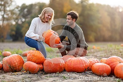 Young couple in pumpkin patch field