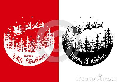 Santa Claus with his reindeer and sleight, vector Christmas card