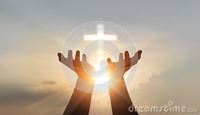 Man hands palm praying and worship of cross, eucharist therapy bless god helping, hope and faith, christian religion concept