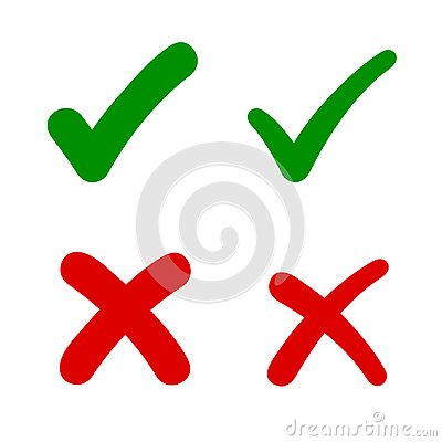 Check mark, tick and cross signs, green checkmark OK and red X icons, symbols YES and NO button for vote, decision