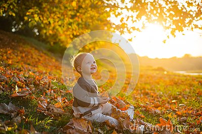 Happy baby playing with leaves in nature. Golden autumn. Smiling little boy with blonde hair plays at beautiful sunny