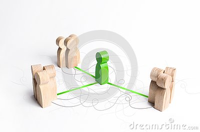The green figure of a mediator connects three groups of people. Mediation Service. Establishing contact and dialogue, increasing