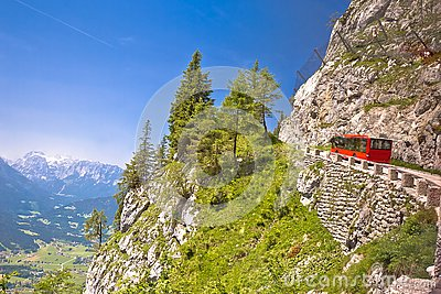 Kehlsteinstraße or Kehlstein road on Alps cliffs leading to Eagle`s Nest