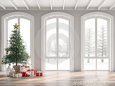 Classical empty room decorate with christmas tree 3d render