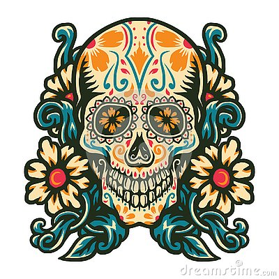 Sugar skull with flower border