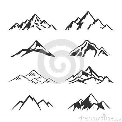 Mountain Silhouette Clipart Collection set