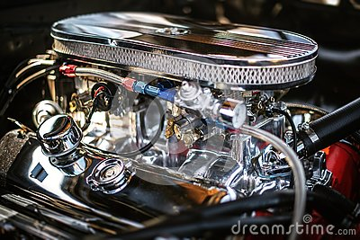 Closeup shot of a clean automotive engine - great for an article about modern powerful car engines