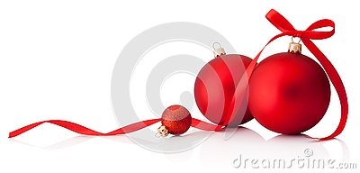 Three red Christmas baubles with ribbon bow isolated on white background