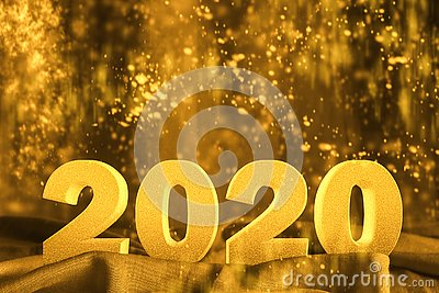 Happy New year 2020 3D text with glitter golden yellow color