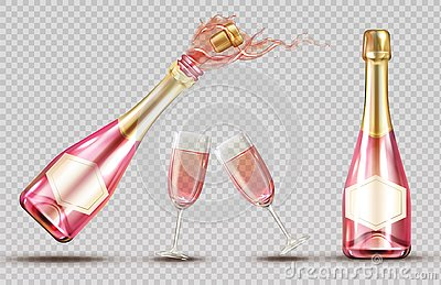 Pink champagne explosion bottle and wineglass set