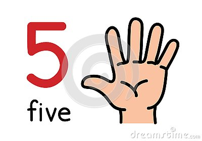 5, Kid`s hand showing the number five hand sign.