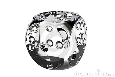 Diamond dice 3D rendered crystal clear