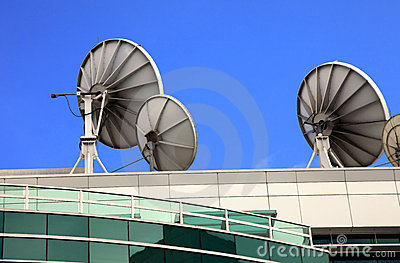 Satellite dishes, telecommunication media center.